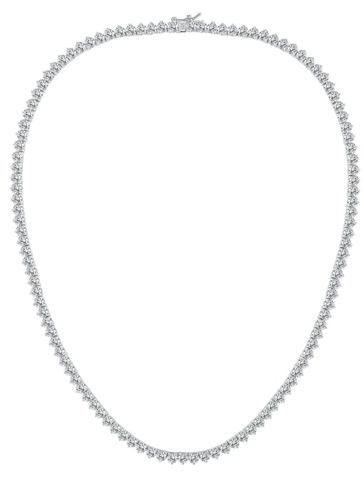 One Next AAA+Cubic Zircon 4.0mm,White,Tennis necklaces,Platinum-plated,Three-claw inlay