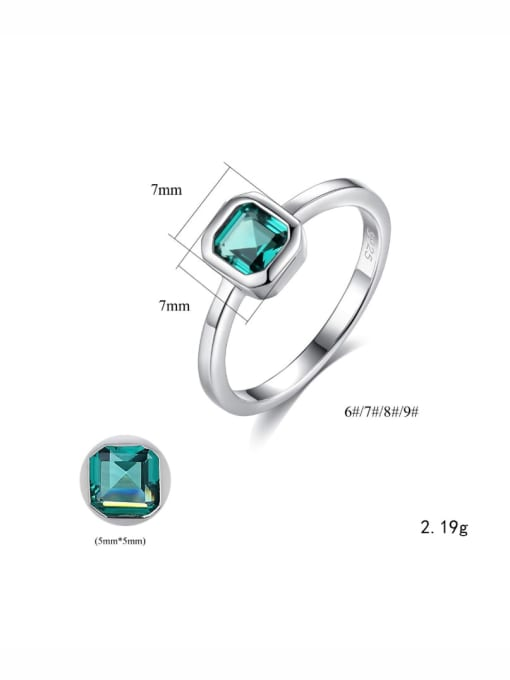 One Next 925 Sterling Silver With Cubic Zirconia Simplistic Square Solitaire Ring