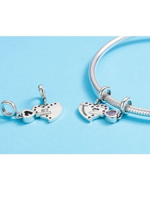 Maja 925 silver cute heart lock charm