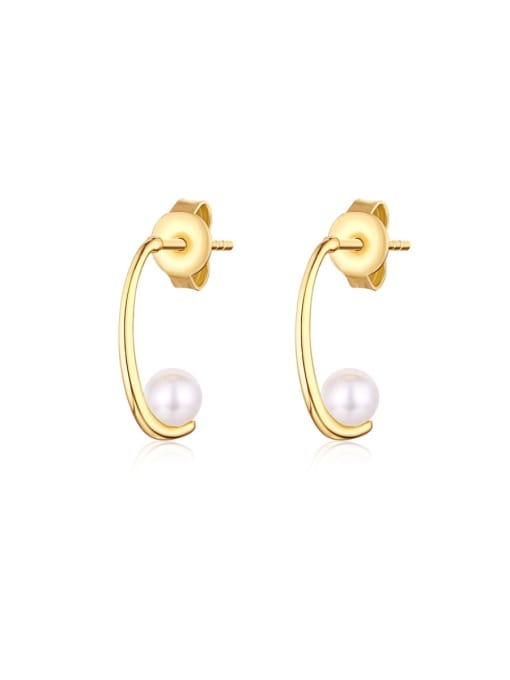 One Next 925 Sterling Silver With Gold Plated Delicate Freshwater Pearl Moon Stud Earrings