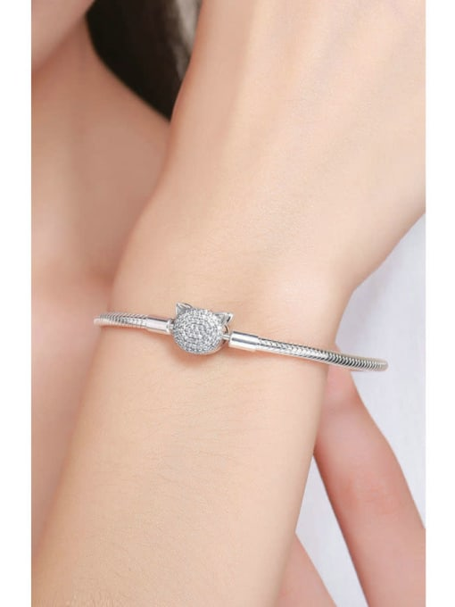 Maja 925 silver cute cat element basic bracelet