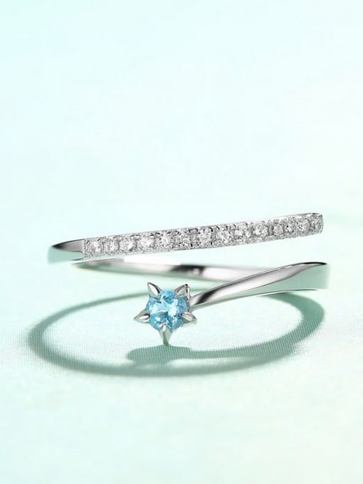One Next 925 Sterling Silver WithTopaz and zircon Delicate Stacking Ring