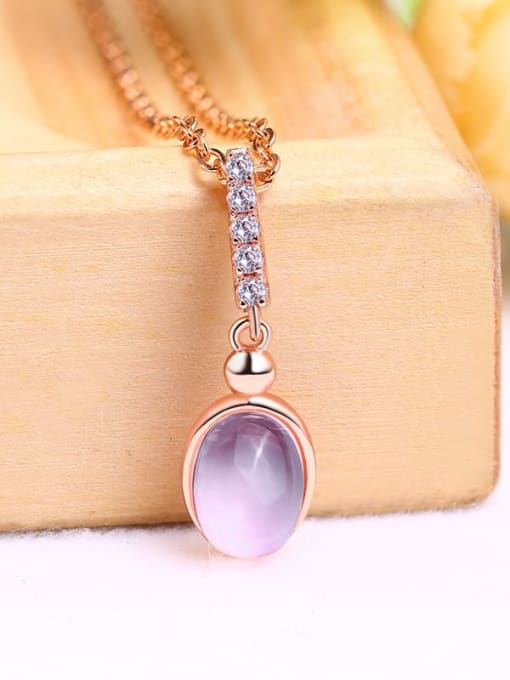 One Next 925 Sterling Silver With 6*8MM Oval Natural Powder Crystal Necklaces