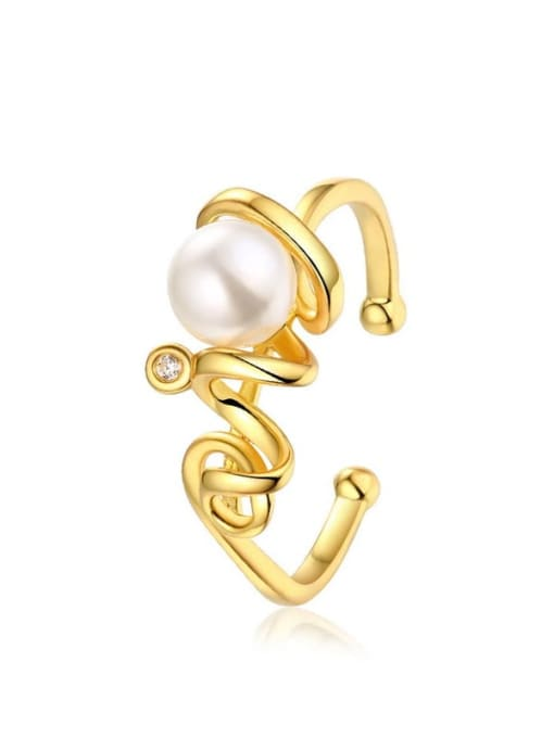 One Next 925 Sterling Silver With Gold Plated synthetic pearl Solitaire Ring