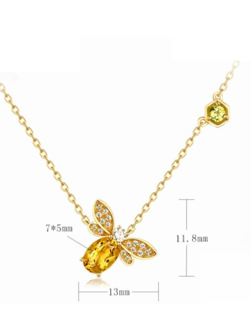 One Next 925 Sterling Silver With 5*7mm Citrine Cute bee Necklaces