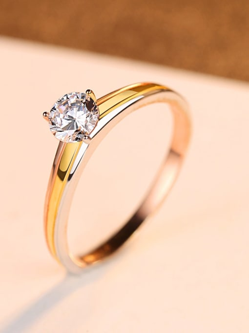 One Next 925 Sterling Silver With Gold Plated Classic Round Engagement Rings