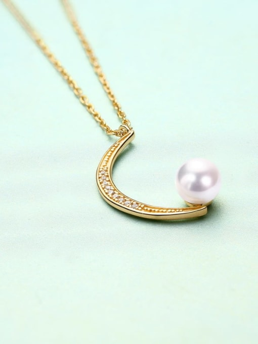 One Next 925 Sterling Silver With Gold Plated Delicate Peal Moon Necklace