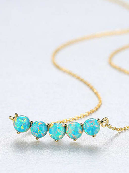 One Next 925 Sterling Silver With Gold Plated opal Necklaces