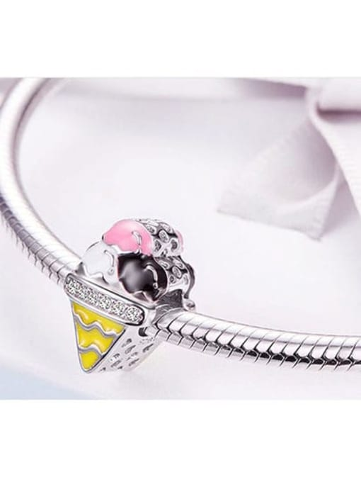 Maja 925 silver artificial zircon cute ice cream charm