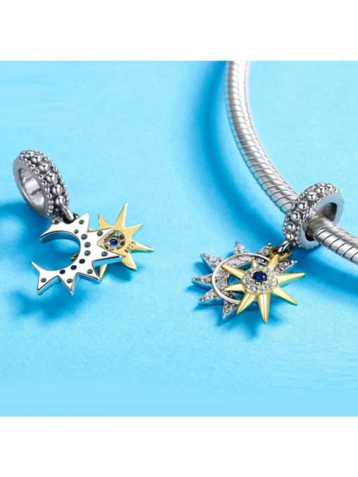 Maja 925 silver cute stars moon charm