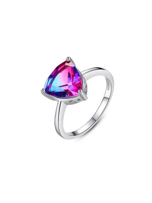 One Next 925 Sterling Silver With Mystic Topaz Triangle Ring