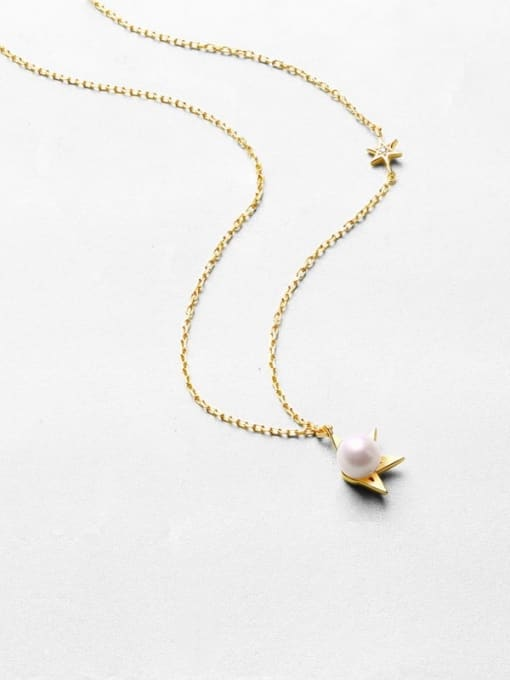 One Next 925 Sterling Silver With  Freshwater Pearl sweet Star Necklaces