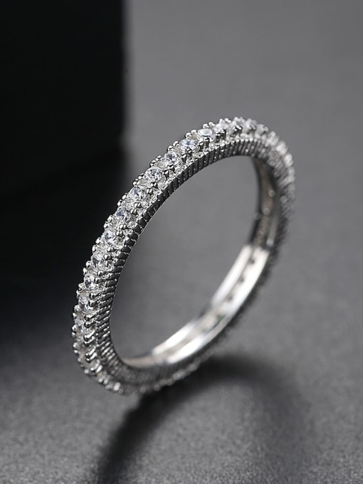 One Next 925 Sterling Silver With Platinum Plated  Simplistic Band Ring