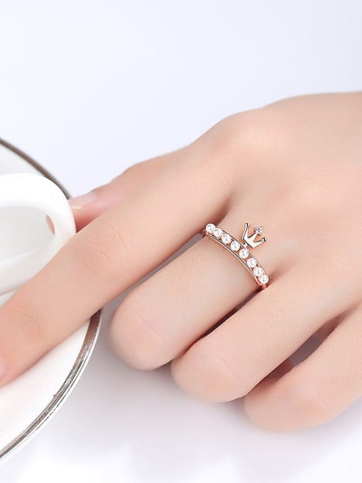 One Next 925 Sterling Silver With Artificial Pearl Delicate Crown Ring