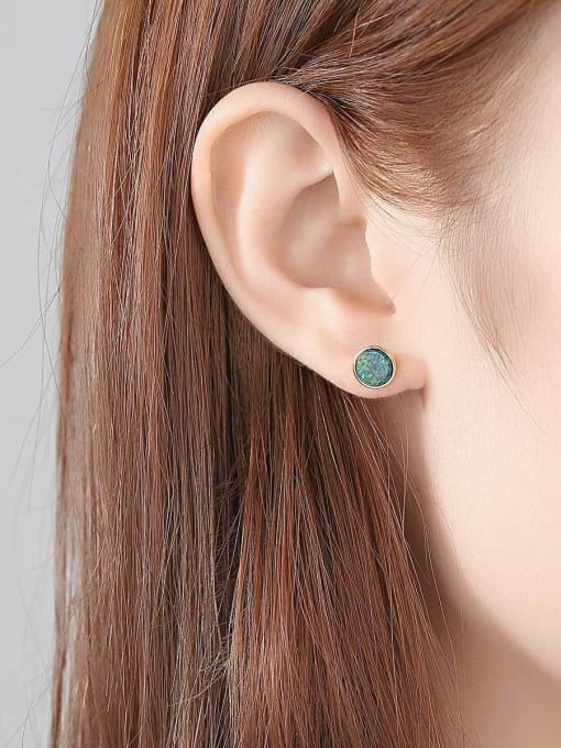One Next 925 Sterling Silver With Opal Simplistic Round Stud Earring