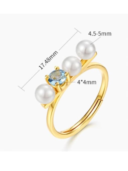 One Next 925 Sterling Silver With Gold Plated Delicate Topaz+Artificial Pearl free size Ring