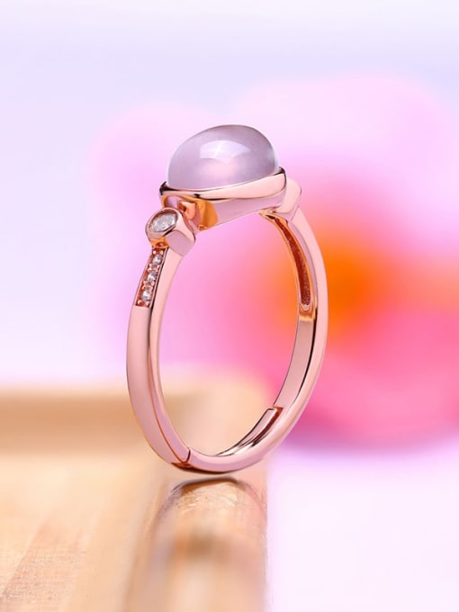 One Next 925 Sterling Silver With 6*8mm Oval Natural Powder Crystal Solitaire Ring