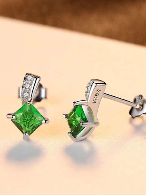 One Next 925 Sterling Silver With Cubic Zirconia Delicate Square Stud Earrings