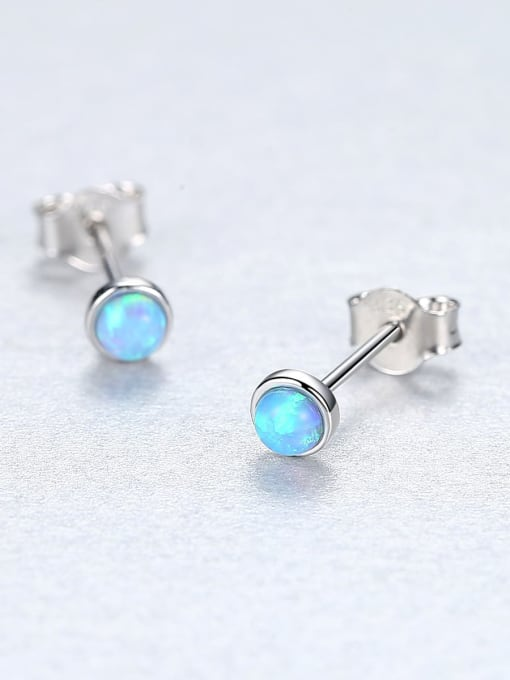 One Next 925 Sterling Silver With Opal Round Mini Stud Earring