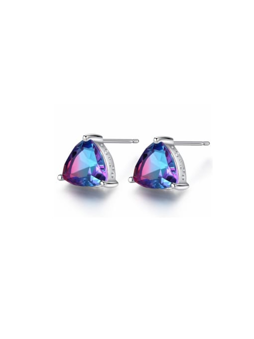 One Next 925 Sterling Silver With Mystic Topaz Triangle Stud Earring
