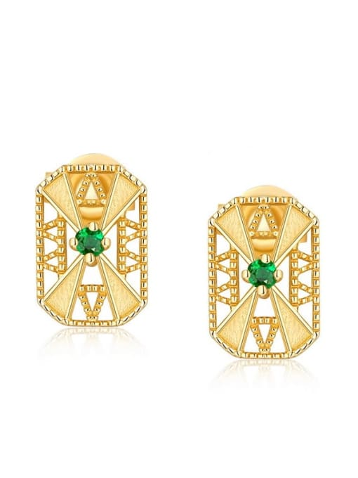 One Next 925 Sterling Silver With Gold Plated Vintage Square Cubic Zirconia Stud Earring