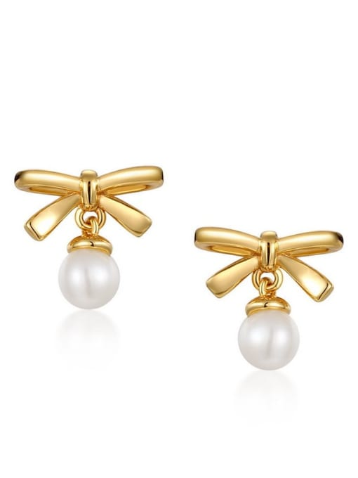 One Next 925 Sterling Silver With Freshwater Pearl Cute Bowknot Stud Earring