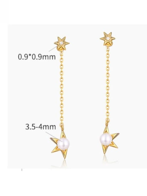 One Next 925 Sterling Silver With Freshwater Pearl Sweet Star Stud Earring