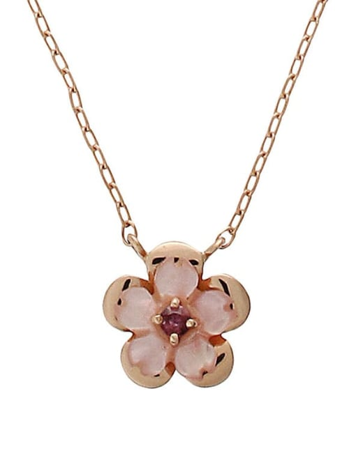 One Next 925 Sterling Silver With Rose Gold Plated Cute Flower Necklaces