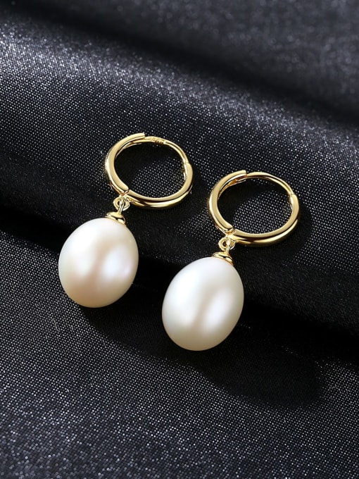 One Next 925 Sterling Silver With  Freshwater Pearl Oval Clip On Earrings