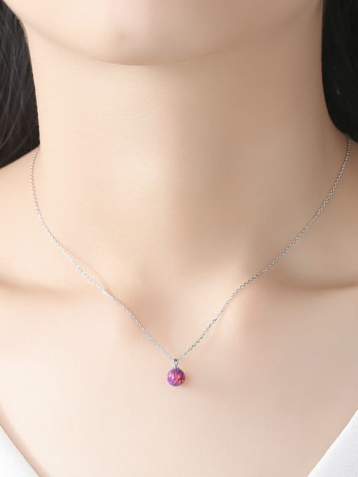 One Next 925 Sterling Silver With Platinum Plated Personalized  Opal Ball Necklace