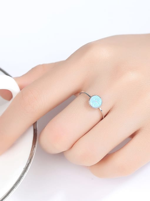 One Next 925 Sterling Silver With Opal Delicate Round Solitaire Ring