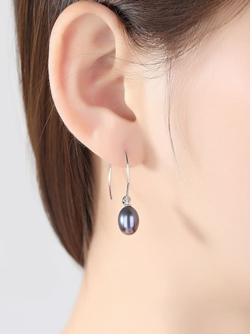One Next 925 Sterling Silver With Freshwater Pearl Oval Hoop Earrings