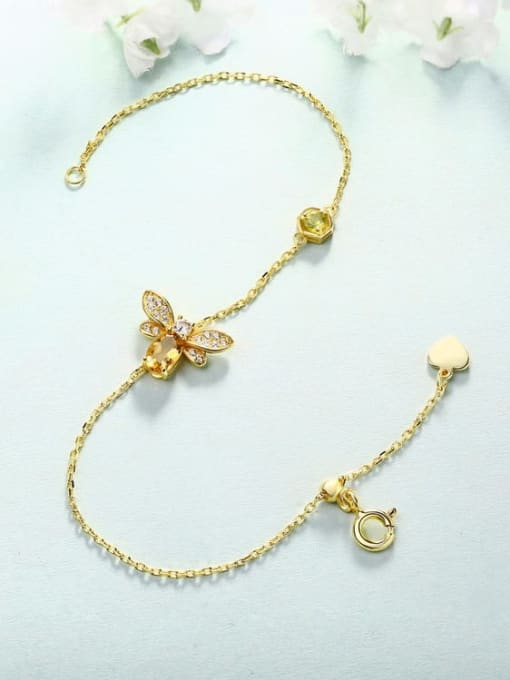 One Next 925 Sterling Silver With 6*4mm Citrine Cute Bee Bracelets