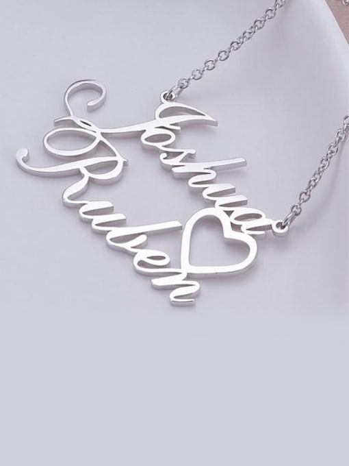 Lian Designs Personalized Double Names Necklace with a Cut Out Heart