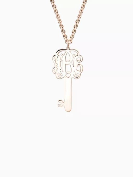 Lian Designs Customize Key Monogram Necklace Silver