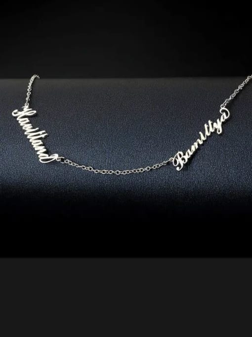 Lian Designs Customized Personalized Two Name Necklace Silver