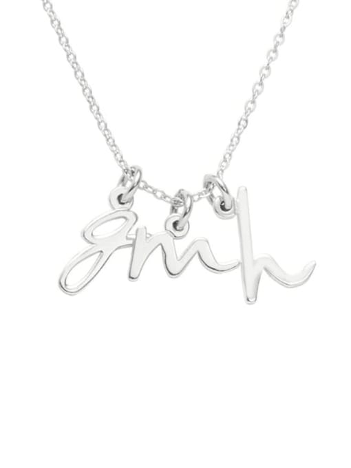 Lian Designs Mini Three Initial Name Necklace silver