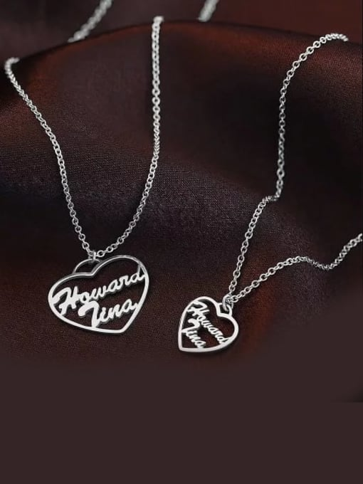 Lian Designs Customized Silver Personalized Heart Two Name Necklace