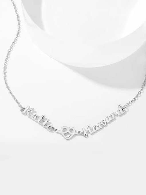Lian Designs Customized Love Hug Two Name Necklace Silver