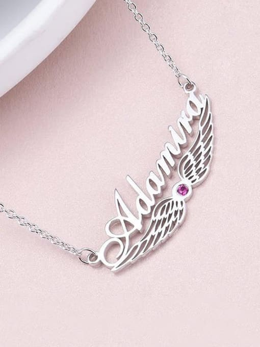 Lian Designs Custom Angel Wing Name Necklace with birthstone