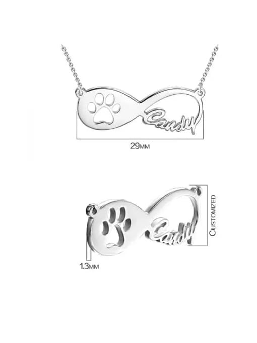 Lian Designs Customized Dog Paw Print Infinity Name Necklace Silver