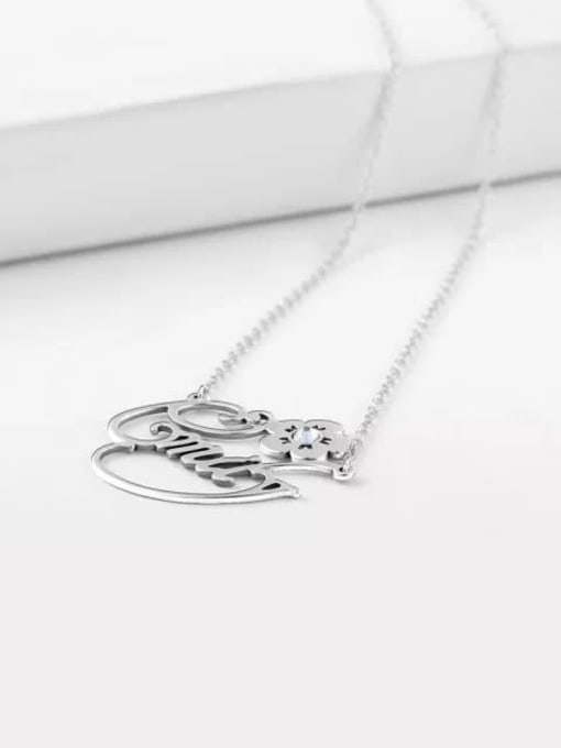 Lian Designs Customize Silver Personalized Crystal Name Necklace With Flower