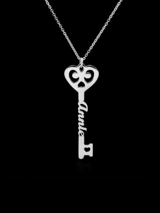 Lian Designs Personalized  Key Style Name Necklace silver