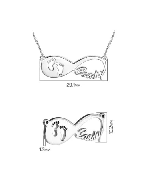 Lian Designs Gift For New Mom - Baby Footprint Infinity Name Necklace