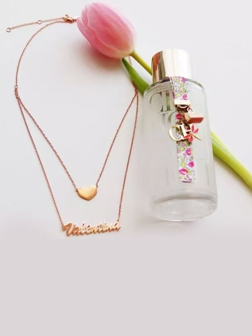 Lian Designs Customized Two Layers Personalized Heart Name Necklace