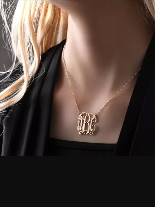 Lian Designs Small Celebrity RBC Monogram Necklace Sterling Silver