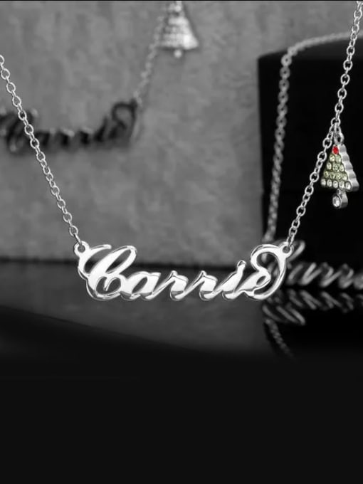 Lian Designs Customize Christmas Tree Name Necklace Silver