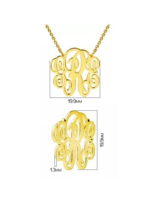 Lian Designs Customize Small Fancy Monogram Necklace silver