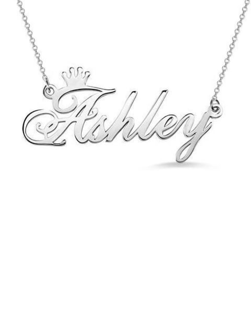Lian Designs Ashley style Personalized Name Crown Necklace Silver