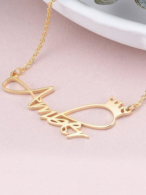 Lian Designs Aber style Personalized Princess Crown Name Necklace silver